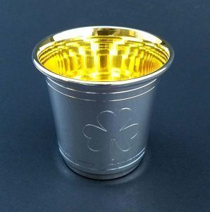 Sterling Silver Mint Julep Cup with 24k Gold Engraved