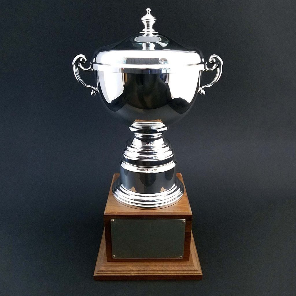 The Colonial Trophy Cup in Sterling Silver or Pewter with custom options available.