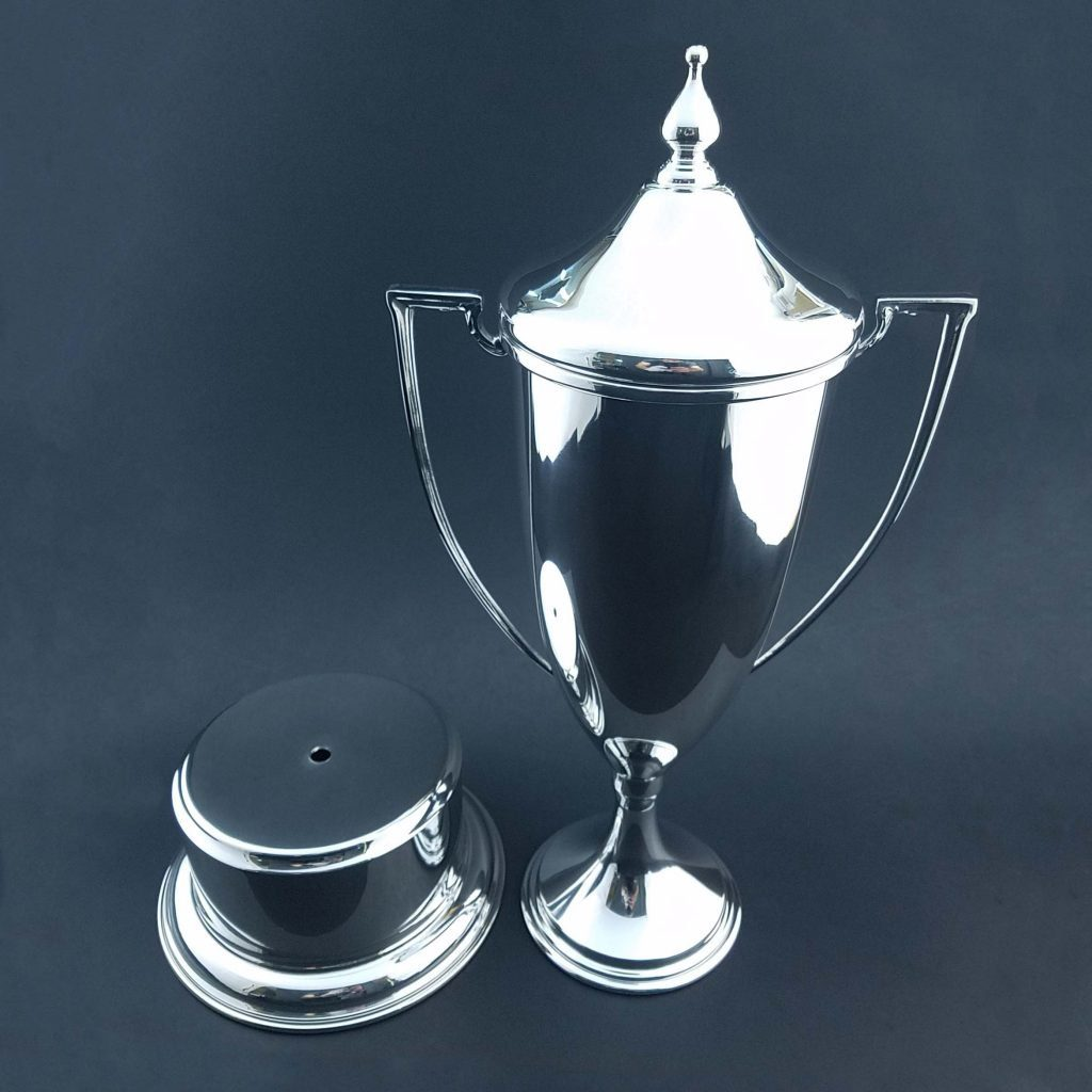 Meandros Trophy Loving Cup with Base. Sterling silver or pewter. Customize yours today