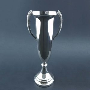 The Apollo Trophy in silver or pewter (TR761). Personalize your trophy with engraving, medallions, bases, and more.