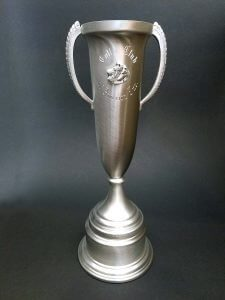 Custom pewter trophy with engraving, medallion, and base